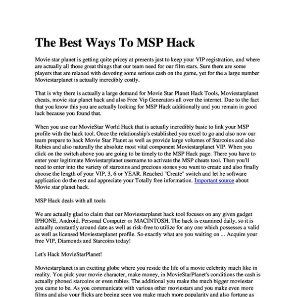 The Best Ways To MSP Hack
