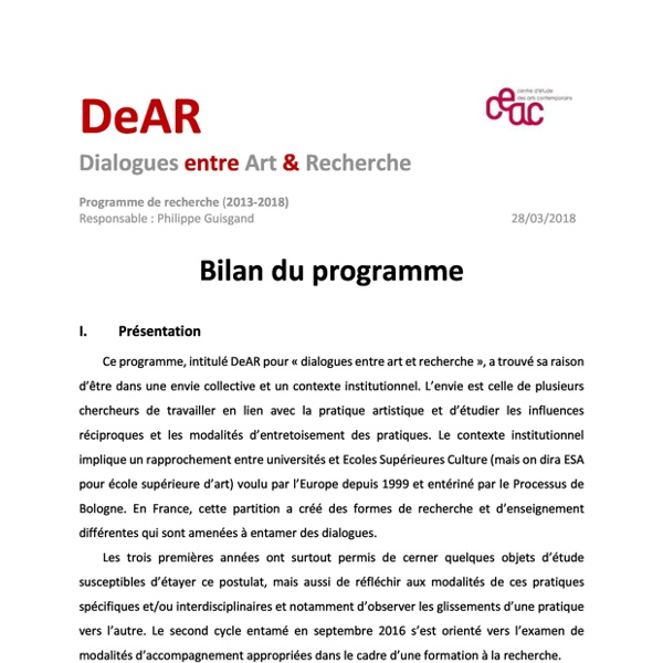 Bilan du programme DeAR Philippe Guisgand