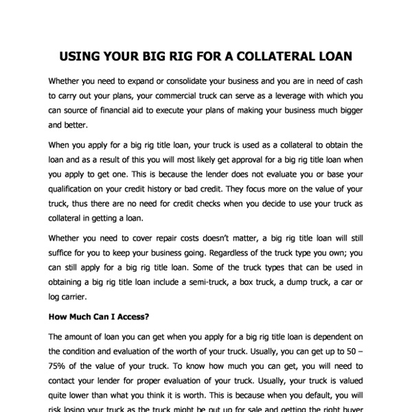 Using Your Big Rig For A Collateral Loan