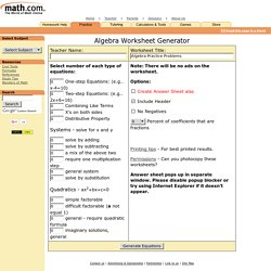 Free Math Worksheets: generate math worksheets for basic ...