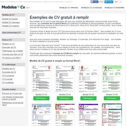 Exemple De Cv à Remplir Gratuit Au Format Word Pearltrees