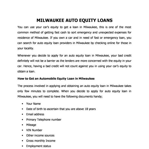 Milwaukee Auto Equity Loans