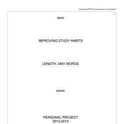 personal project process journal example pdf