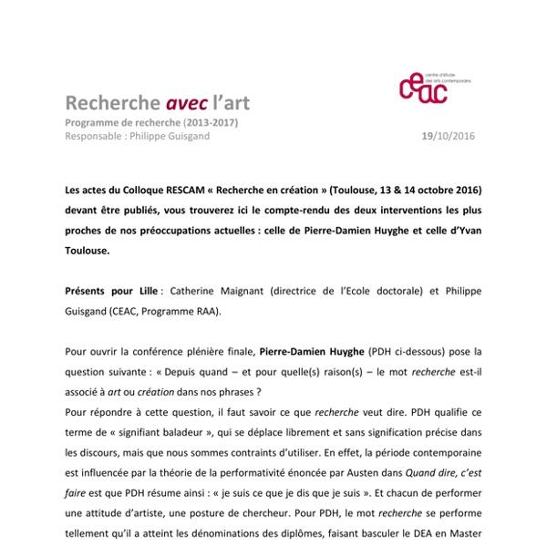 CR RESCAM Recherche en creation 2016