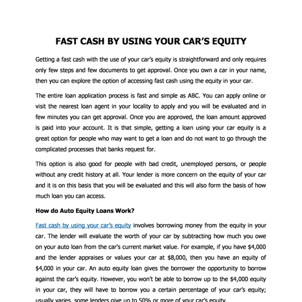 Fast Cash By Using Your Cars Equity