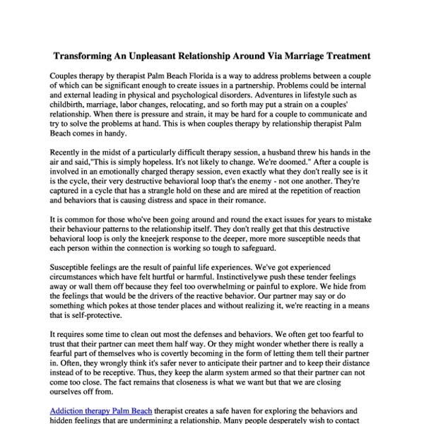 Transforming An Unpleasant Relationship Around Via Marriage Treatment