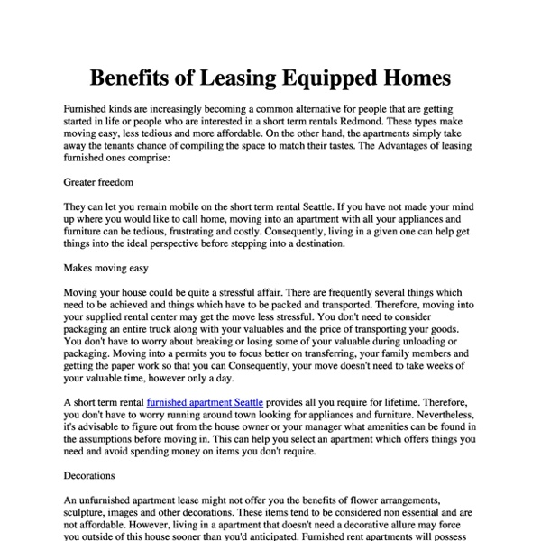 Benefits of Leasing Equipped Homes