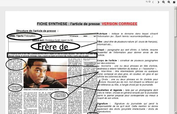 La Presse : la Une, l'article et le vocabulaire - C.D.I ...