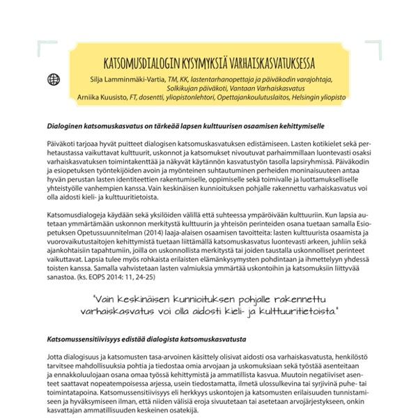 SiljaLamminmkiVartiaArniikaKuusistoKatsomusdialoginkysymyksivarhaiskasvatuksessa