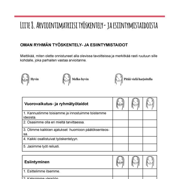 Arviointimatriisi tyoskentely ja esiintymistaidot