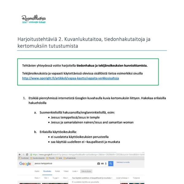 Harjoitustehtavia2Kuvanlukutaitoatiedonhakutaitojajakertomuksiintutustumista