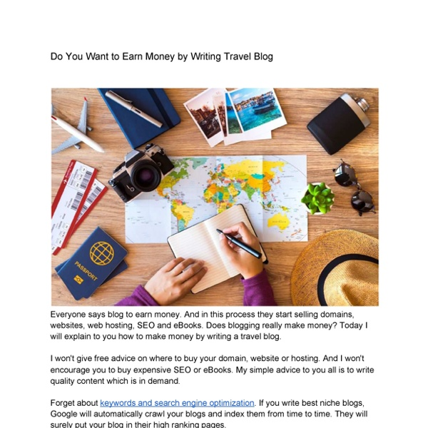 Do You Want to Earn Money by Writing Travel Blog